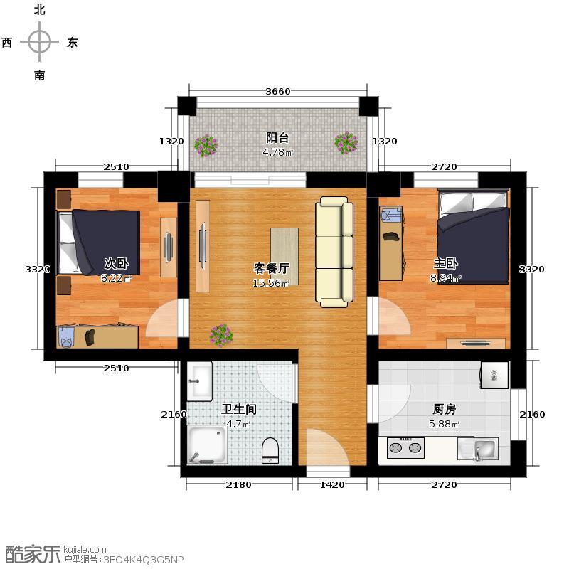 鸿安国际广场63.07㎡C1户型2室1厅1卫1厨