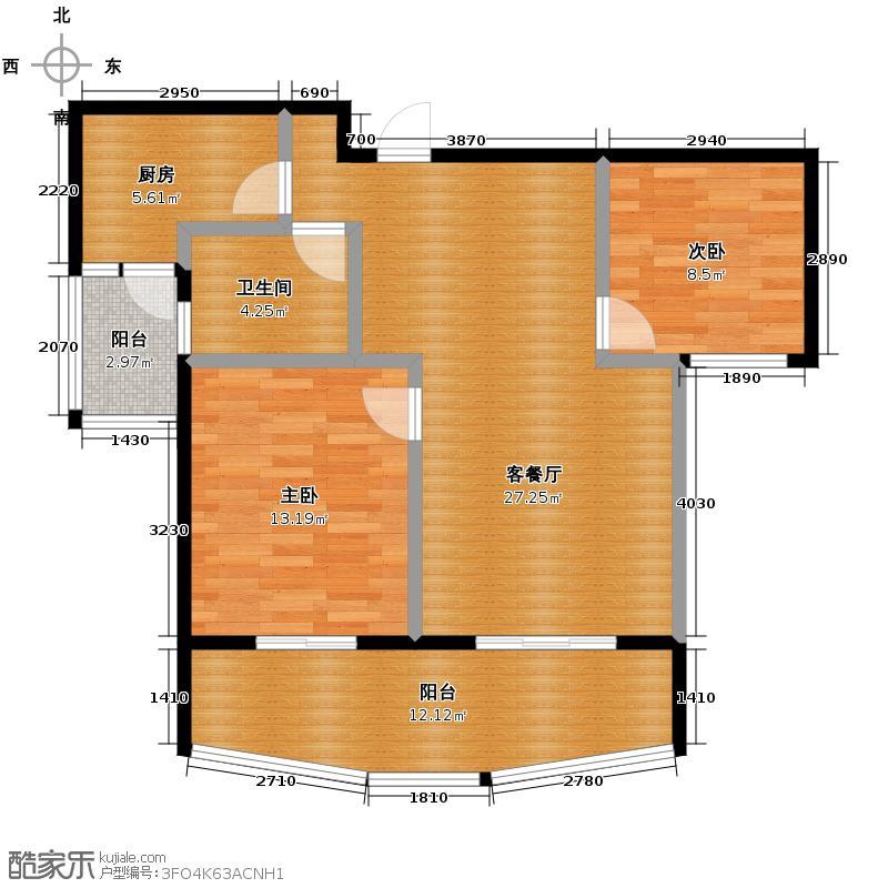 圣苑103.00㎡户型2室1厅1卫1厨