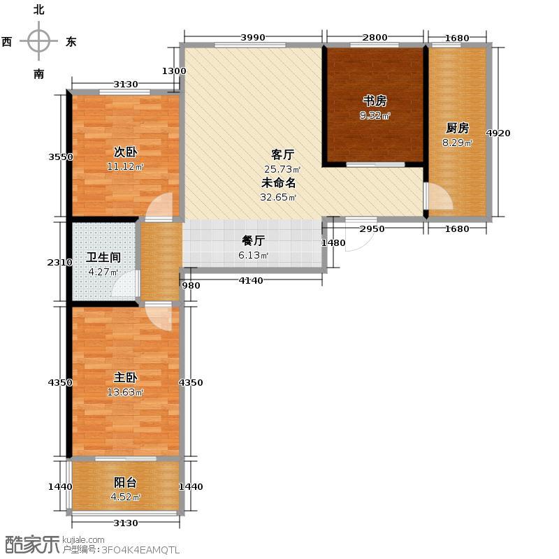 水岸豪庭118.78㎡B-1户型3室1卫1厨