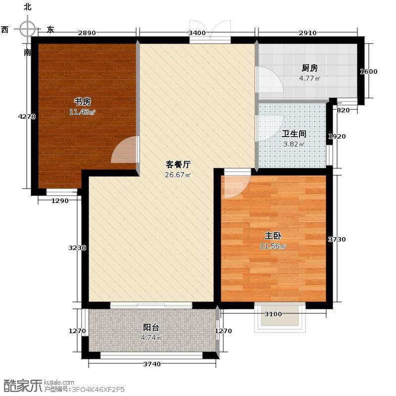 汇锦城90.95㎡国仕山H16-M3户型2室1厅1卫1厨