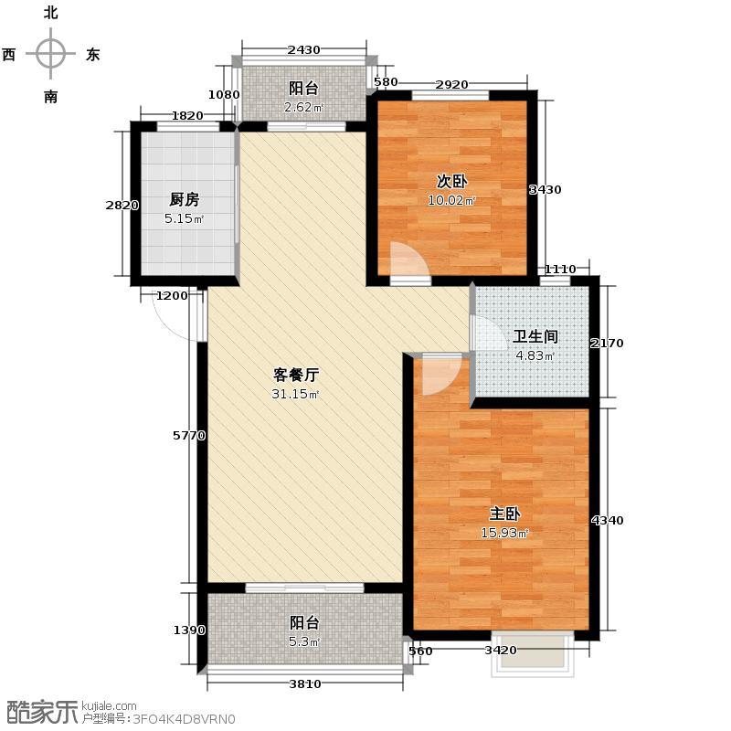 广大同城印象83.94㎡F(售完)户型2室1厅1卫1厨