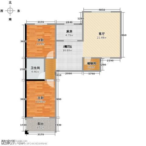 水岸豪庭2室0厅1卫1厨100.00㎡户型图