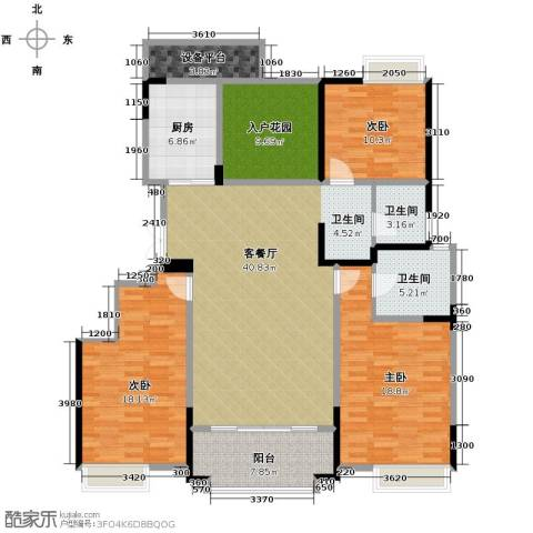 华地紫园3室2厅2卫0厨147.00㎡户型图