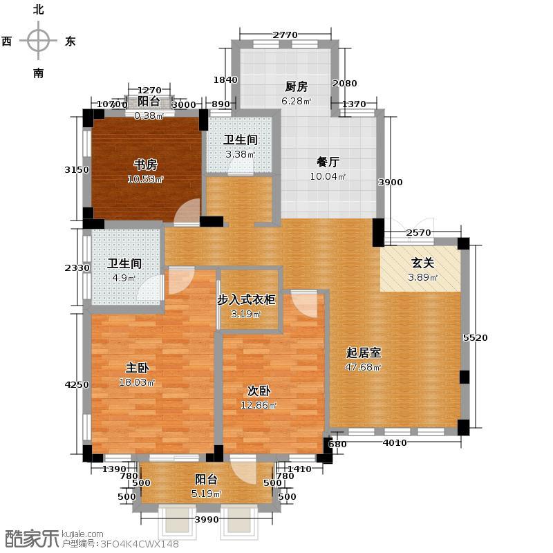 戈雅公寓132.11㎡户型3室2卫