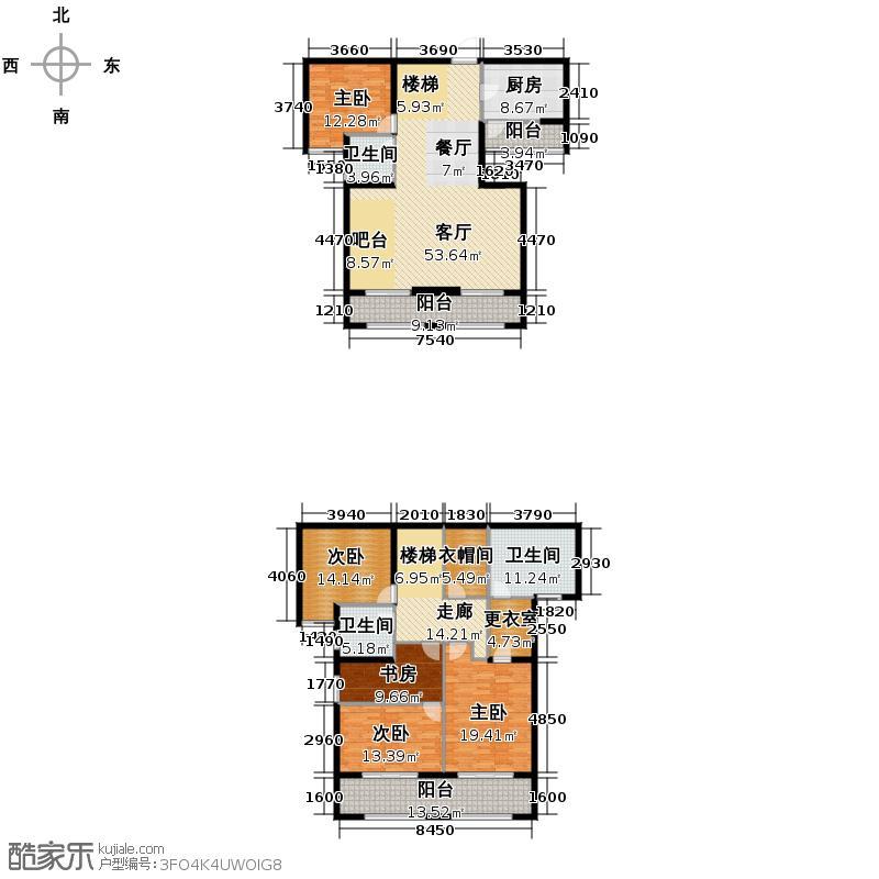 凯德龙湾245.00㎡1号楼澜A4户型5室1厅3卫1厨