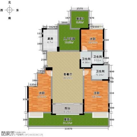 华地紫园3室2厅2卫0厨146.33㎡户型图