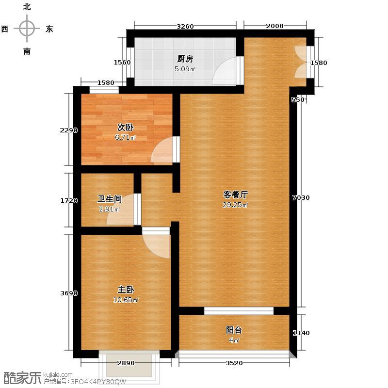 亚太玫瑰园103.23㎡6-E户型2室1厅1卫1厨