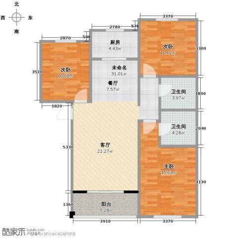 水岸豪庭3室0厅2卫1厨125.00㎡户型图