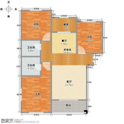 水岸豪庭3室0厅2卫1厨126.00㎡户型图