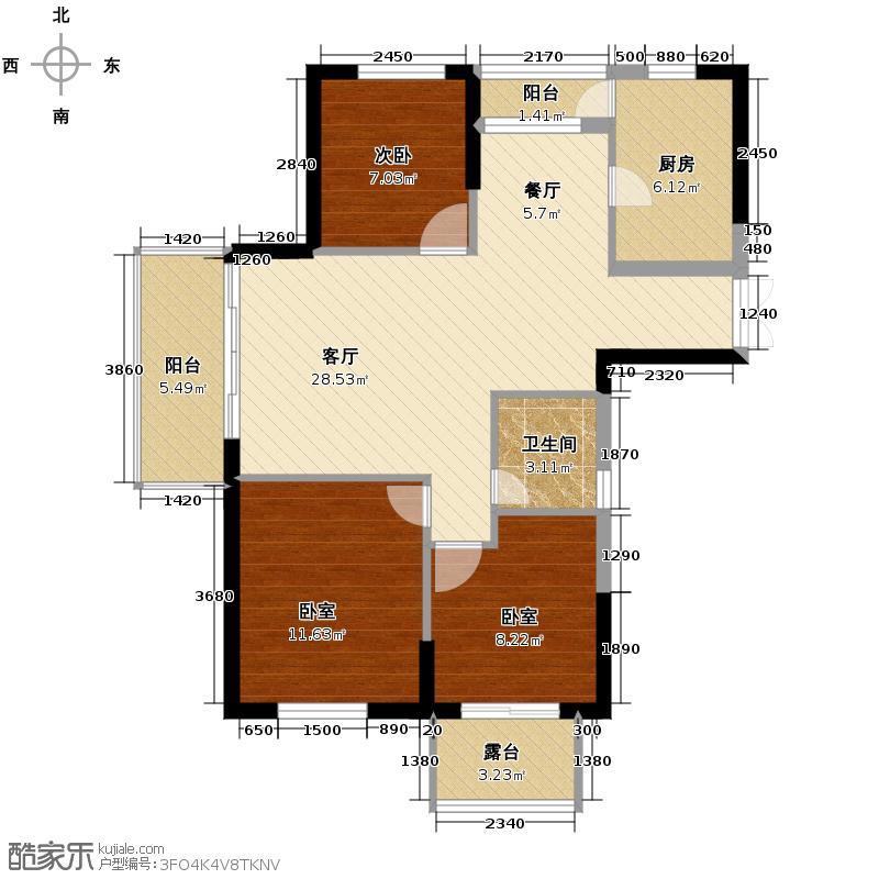 树兰书香名邸99.20㎡一期5#西边套J户型1室1厅1卫1厨