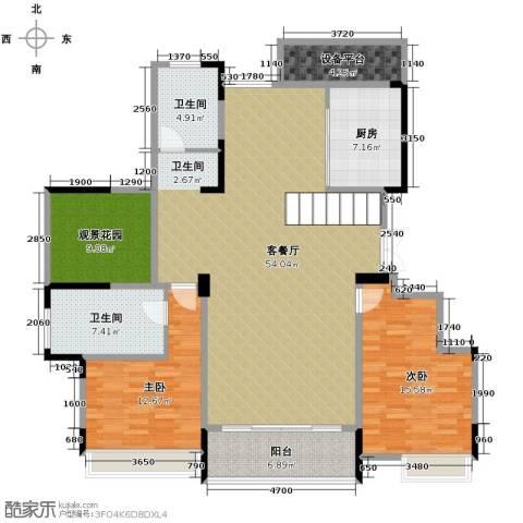 华地紫园3室3厅3卫0厨139.00㎡户型图