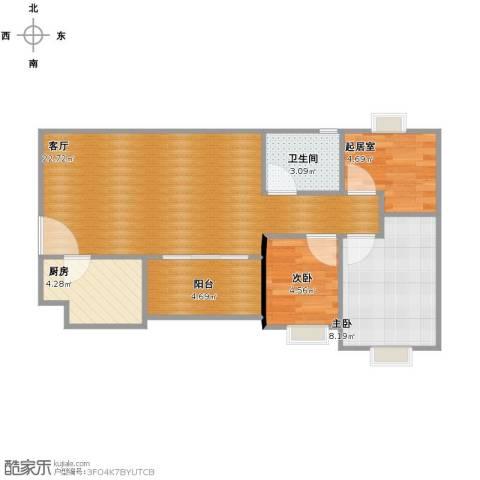苗和苑2室1厅1卫1厨71.00㎡户型图