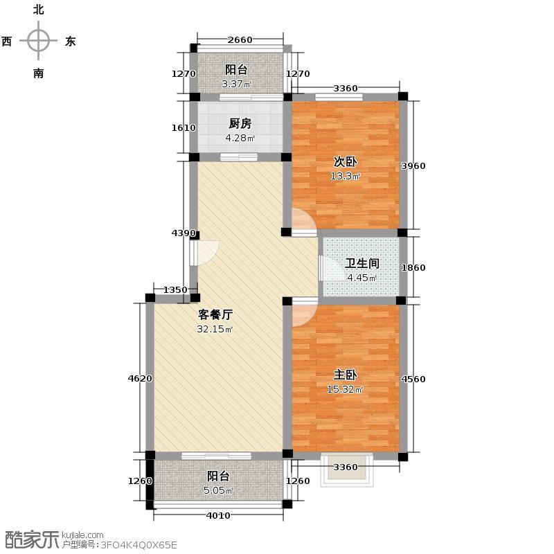 国芳世贸花园104.23㎡三期B户型2室1厅1卫1厨