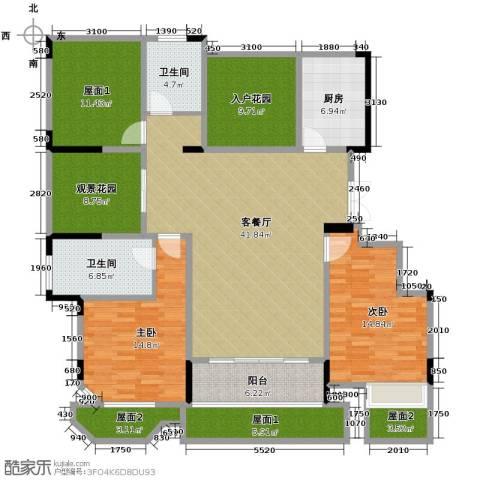 华地紫园2室2厅2卫0厨138.61㎡户型图