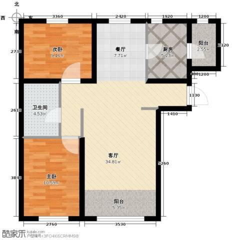 金昌国际2室2厅1卫0厨90.00㎡户型图
