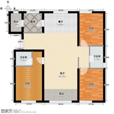 金昌国际3室2厅2卫0厨134.00㎡户型图