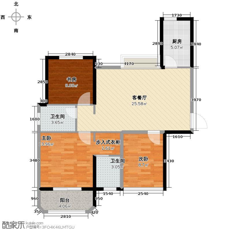 金龙公馆96.76㎡3/4号楼b1户型3室1厅2卫1厨