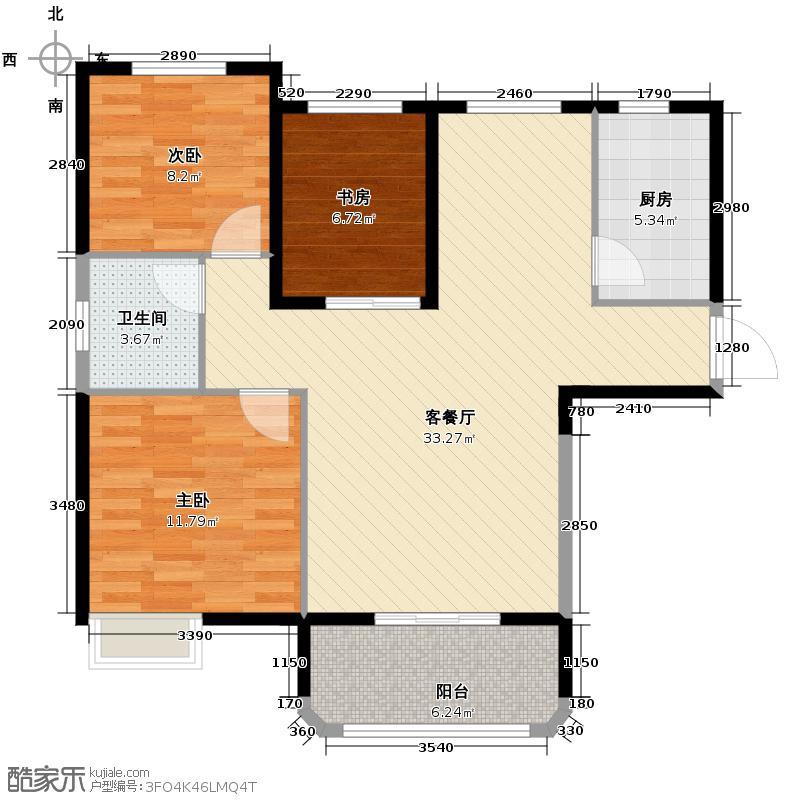 金龙公馆92.44㎡5号楼c1户型3室1厅1卫1厨