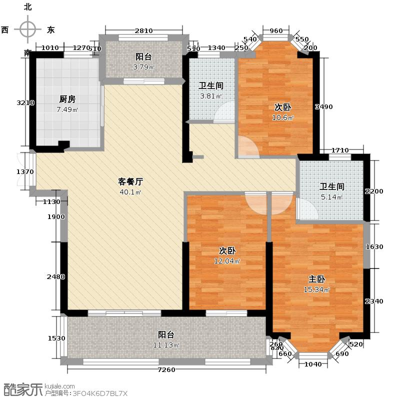 三盛托斯卡纳136.00㎡95#楼户型3室2厅2卫
