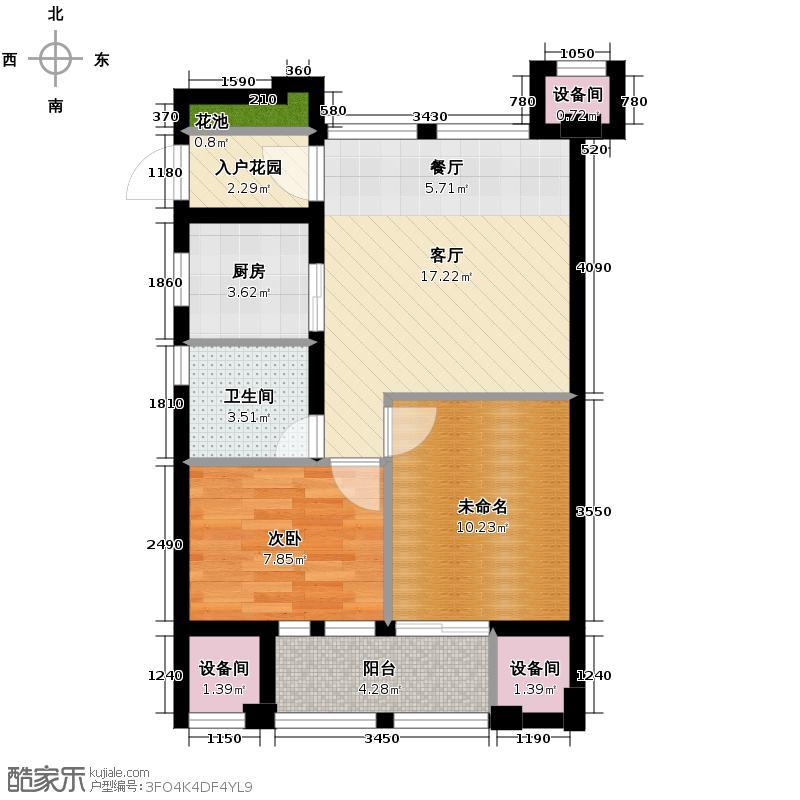 金都夏宫74.00㎡桃院B座A4-1户型1室1厅1卫1厨