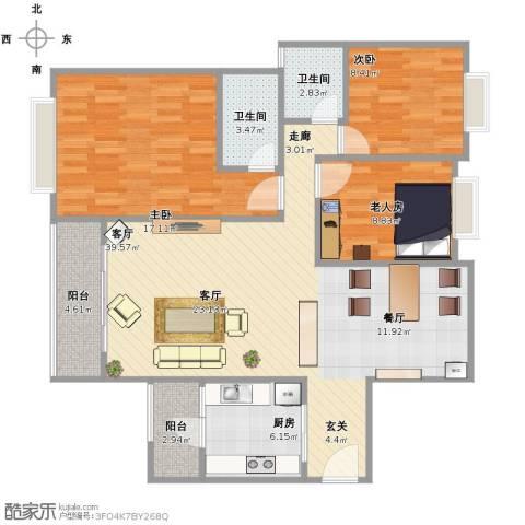 龙光城别墅3室1厅2卫1厨129.00㎡户型图