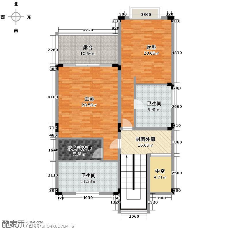 合景・汀澜海岸195.57㎡别墅B二层户型3室2厅3卫