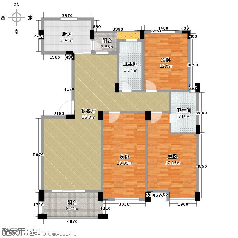 中意名仕苑135.00㎡B2户型3室1厅2卫1厨
