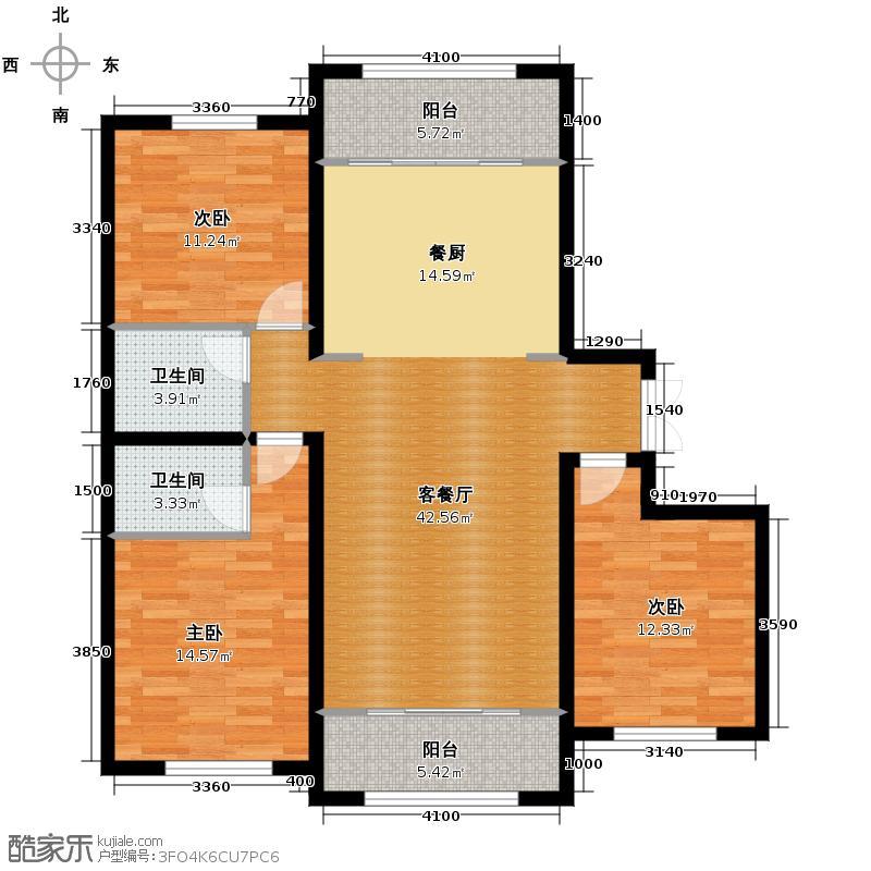 保利公园九号111.51㎡户型3室2厅2卫