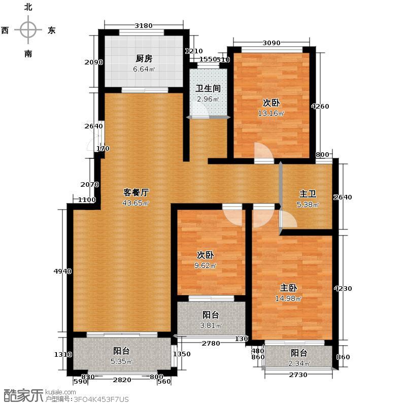 汇锦城140.45㎡豪门府邸10#3-4层B户型3室1厅1卫1厨