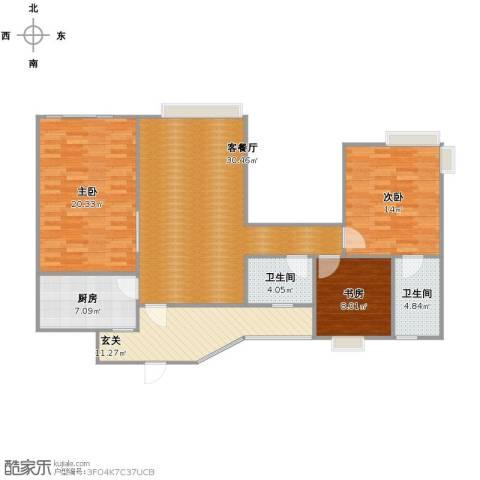 中海兰庭3室1厅2卫1厨134.00㎡户型图