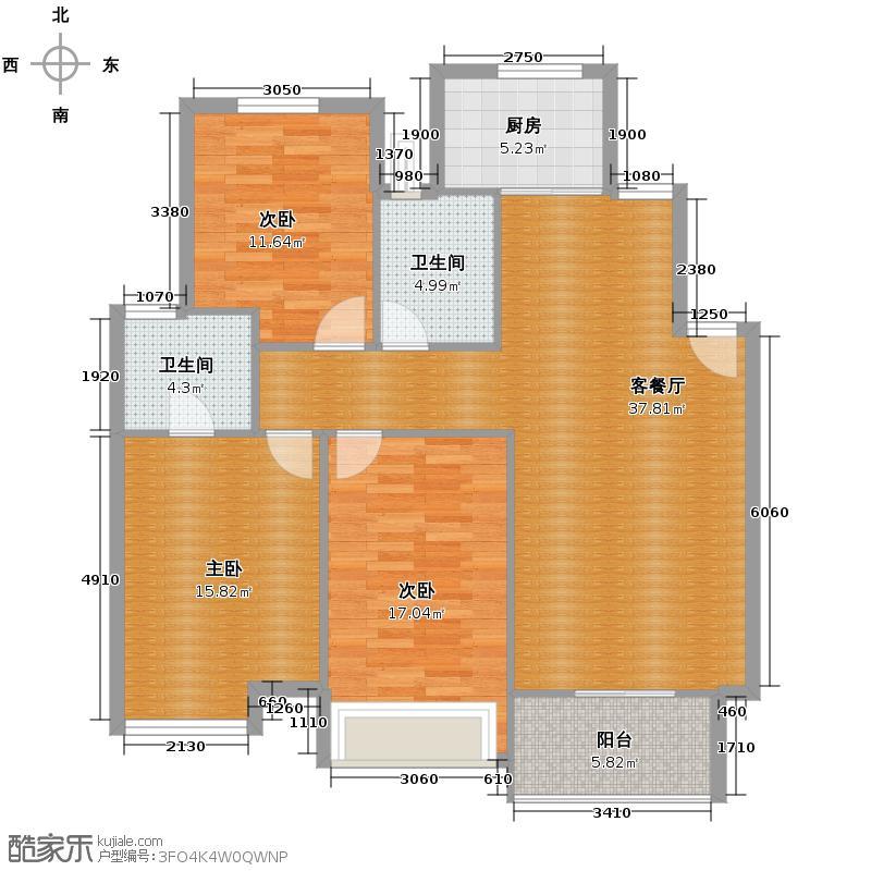 华城格之林花园112.92㎡户型3室1厅2卫1厨