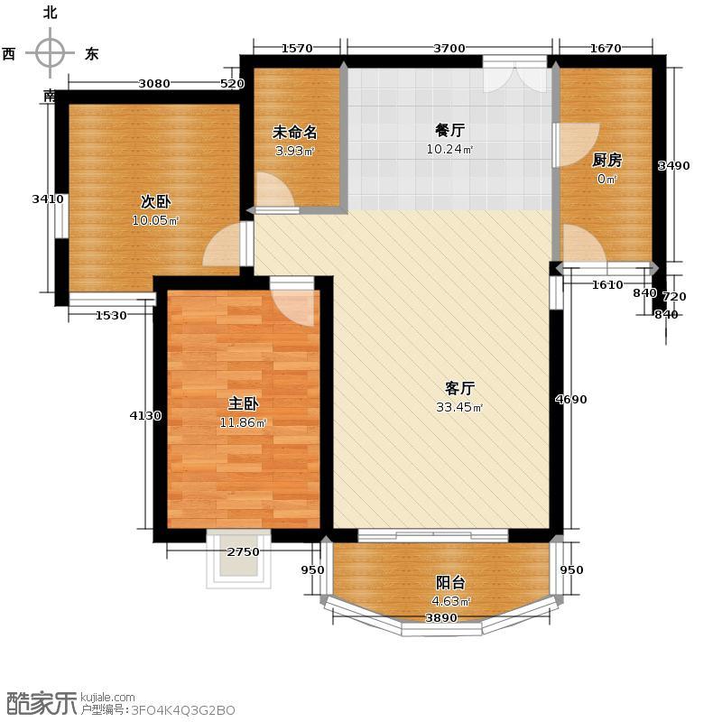 鸿安国际广场97.97㎡B2户型2室1厅1厨