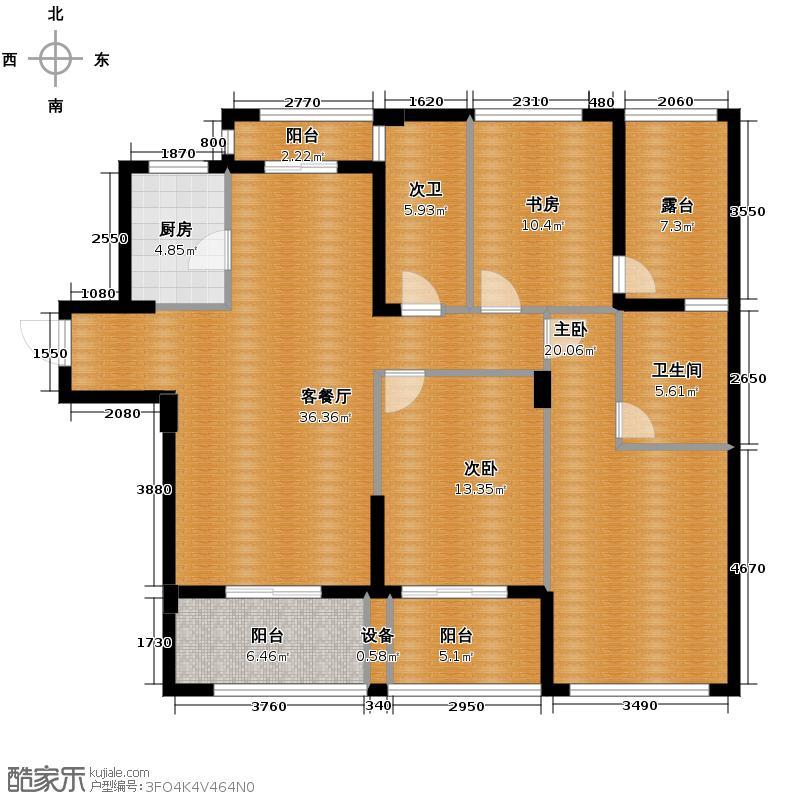 冠宇隽园135.00㎡K户型3室1厅1卫1厨