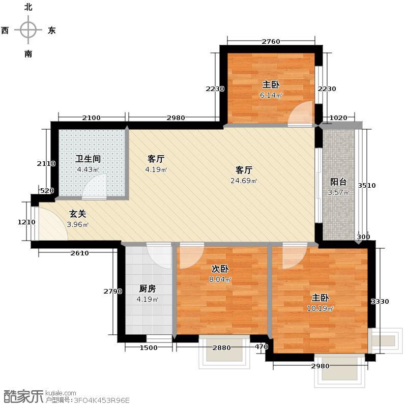 汇锦城69.43㎡和平时光9#-J2标准2-30层户型3室1厅1卫1厨