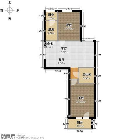 中天富城2室2厅1卫0厨91.00㎡户型图