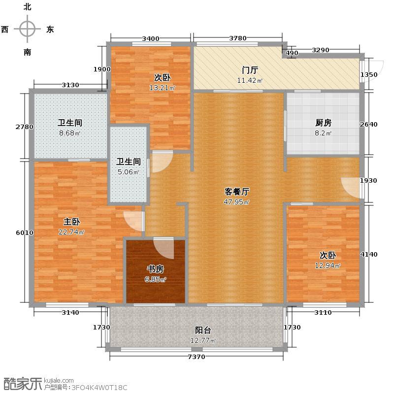 良渚文化村柳映坊180.00㎡平层户型4室1厅2卫1厨