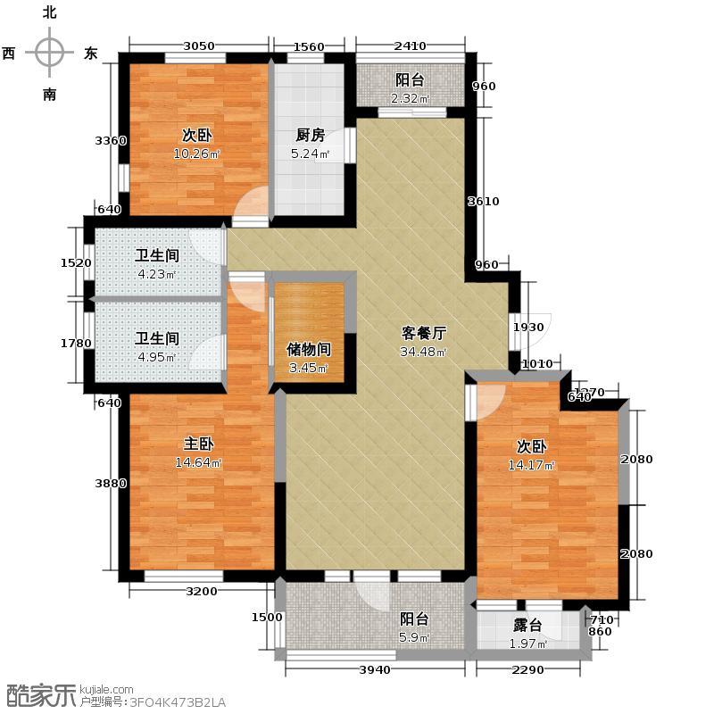 汇锦城146.19㎡世奥湾7#A-A与A反户型3室1厅2卫1厨