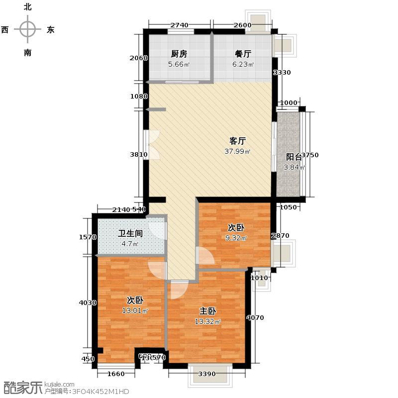 汇锦城121.45㎡中景盛世长安山居岁月户型3室1厅1卫1厨