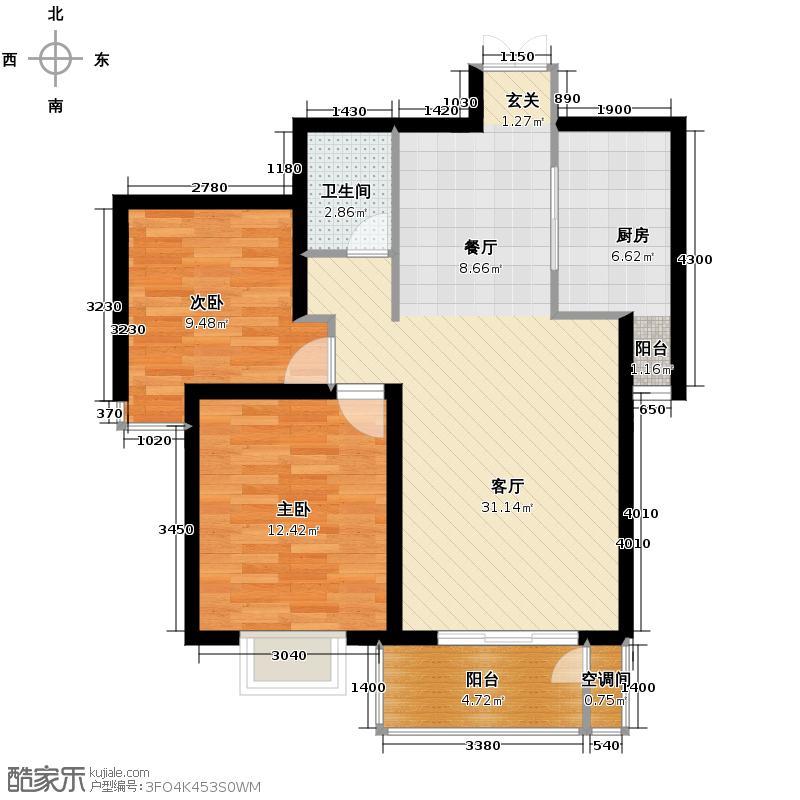 汇锦城93.19㎡和平时光6-K2户型2室1厅1卫1厨