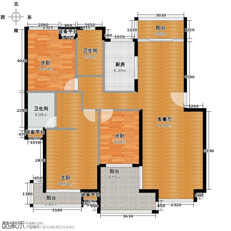 萧宏普罗旺斯126.50㎡户型3室1厅2卫1厨