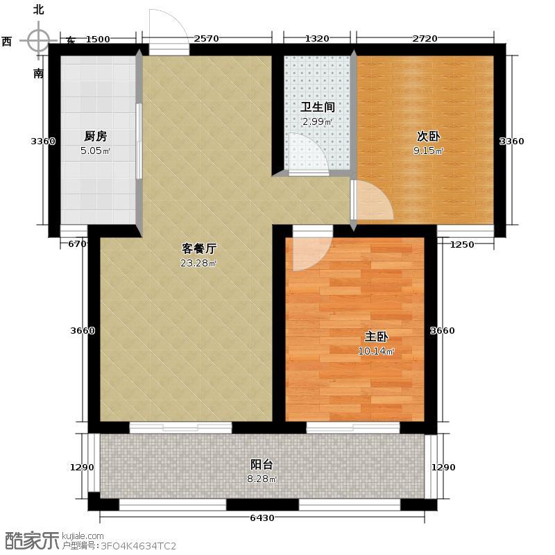 汇锦城91.00㎡风尚水郡1-2-02荷兰香舍户型2室1厅1卫1厨