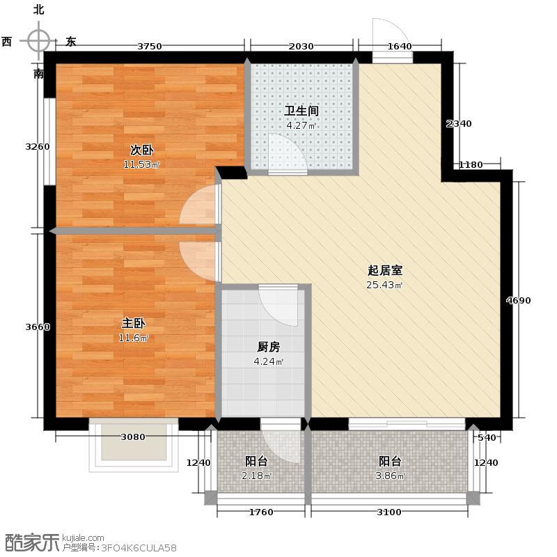 立汇美罗湾58.77㎡四期两居室户型2室2厅1卫
