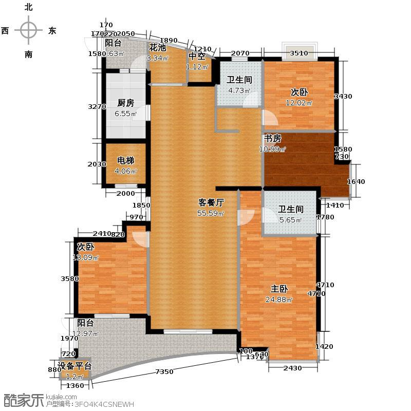 金马名仕园182.00㎡户型4室1厅2卫1厨