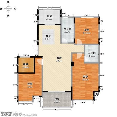 左邻右舍3室1厅2卫1厨131.00㎡户型图