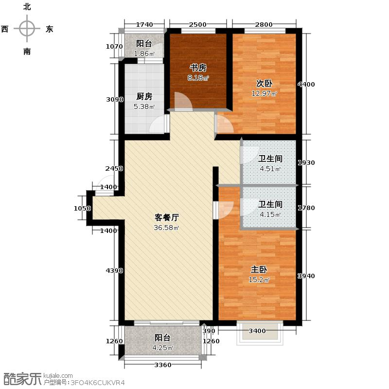 立汇美罗湾84.23㎡四期三居室户型3室2厅2卫