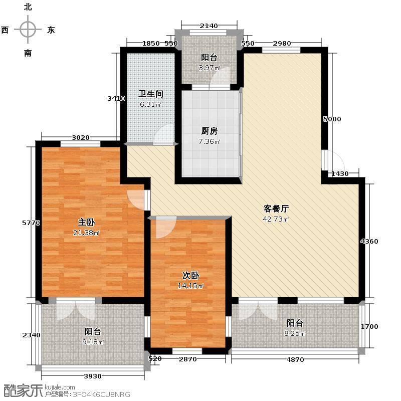 保利公园九号128.29㎡情景洋房C2五层户型10室