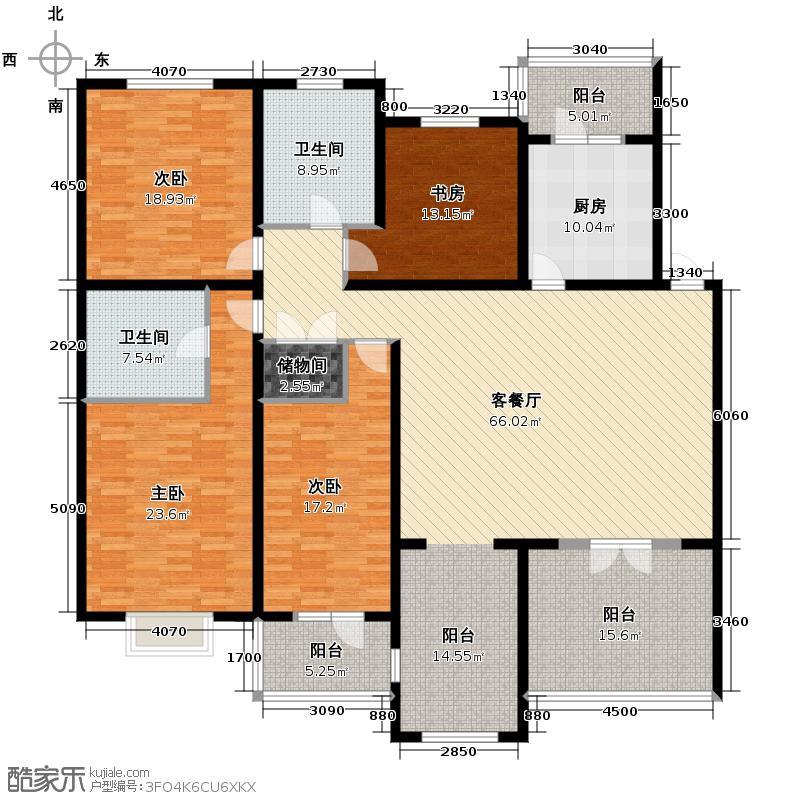 保利公园九号216.69㎡情景洋房C3二层户型10室