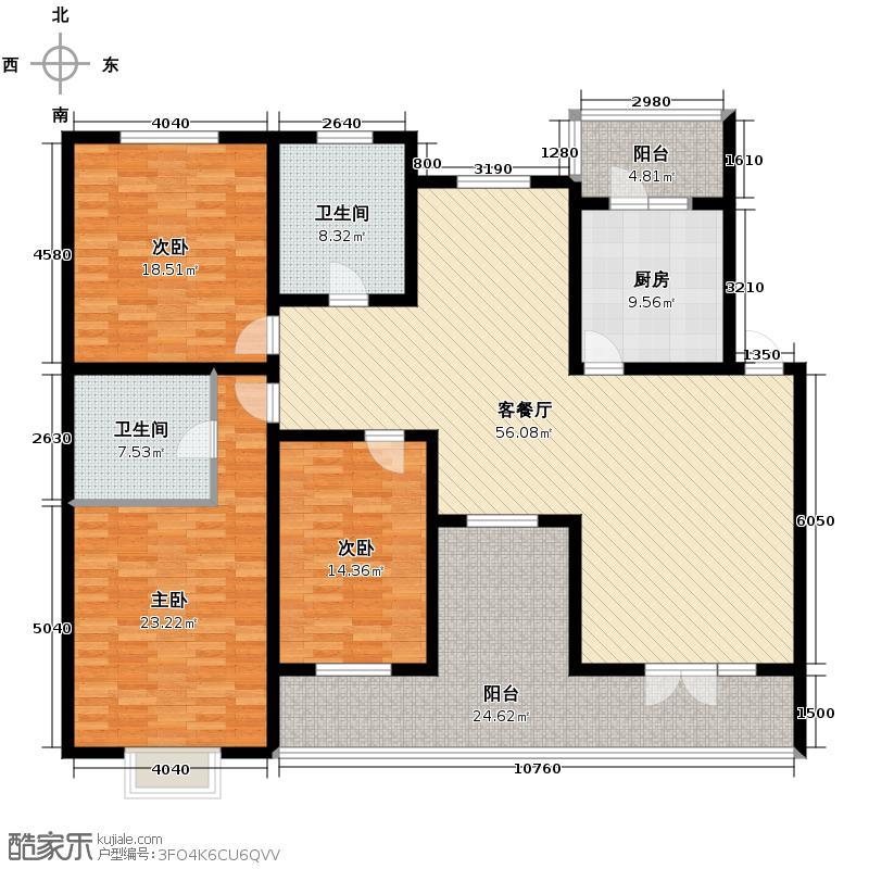 保利公园九号187.53㎡情景洋房C3四层户型10室