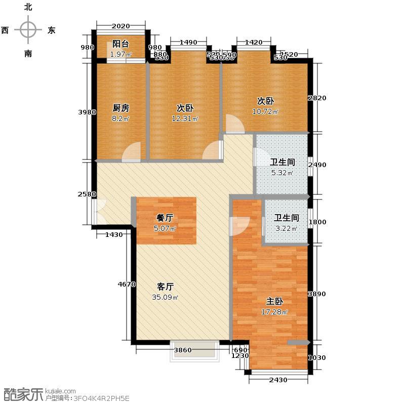 美立方128.73㎡户型3室1厅2卫1厨