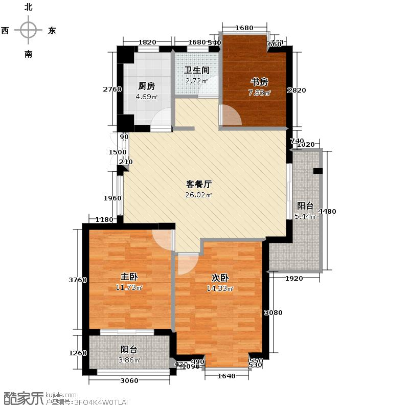 紫爵公寓96.70㎡1号楼A户型3室1厅1卫1厨